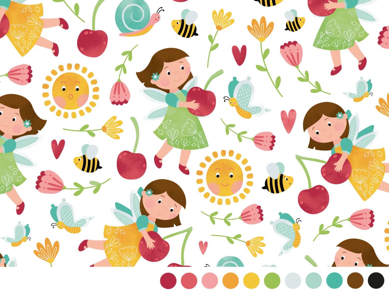 Vrolijk lente patroon voor kinderen