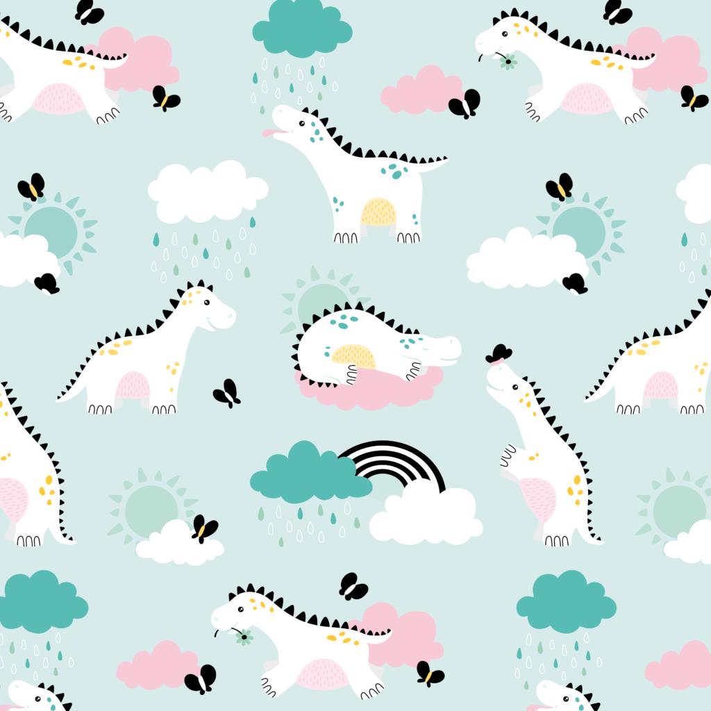 Illustratief patroon van dino's voor op behang