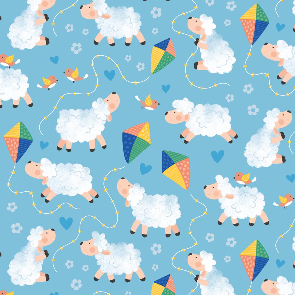 Geïllustreerd patroon met vrolijke schaapjes