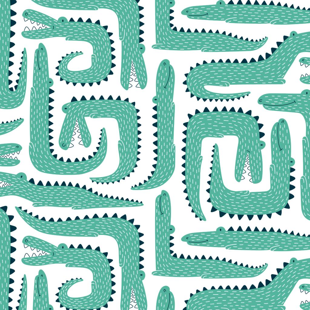 Illustratief patroon met krokodillen